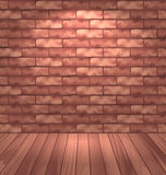 Brown brick wall with wooden floor, empty room interior with lig Stock Photography