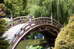 Brown bridge. Asian style bridge in the Japanese garden Royalty Free Stock Images