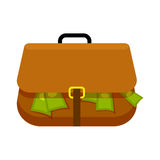 Brown Briefcase Full of Green Money Flat Theme. On white background. Replete bag with black handle and yellow buckle. Vector illustration in cartoon style for Stock Photography