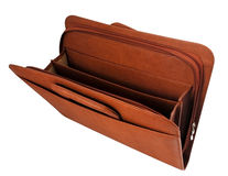 Brown briefcase II. Brown briefcase with hand holder Top view opened Royalty Free Stock Photos
