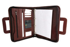 Brown briefcase Opened notepaper calculator Stock Photo