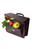 Brown briefcase with ripe fresh vegetables Stock Photography