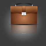 Brown briefcase. Briefcase. Vector illustration.Leather case over dark illustration Royalty Free Stock Photo