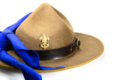 Brown brim hat (hat of scout). Isolated on white stock image
