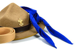 Brown brim hat (hat of scout). Isolated on white royalty free stock photos