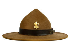 Brown brim hat (hat of scout) isolated on white ba. A brown brim hat (hat of scout) isolated on white background Royalty Free Stock Photo