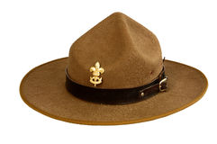 Brown brim hat (hat of scout) isolated on white background. A brown brim hat (hat of scout) isolated on white background Stock Photography