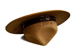 Brown brim hat (hat of scout) isolated on white background. A brown brim hat (hat of scout) isolated on white background Royalty Free Stock Image