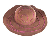 Brown broad-brim felt hat. Isolated on white background stock photo