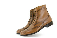 Brown brogue boots shoe. Stock Photo