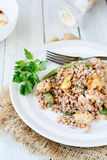 Brown buckwheat with mushrooms and vegetables Stock Photography