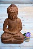 Brown Buddha statue with flowers and zen stones Royalty Free Stock Photos