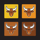 Brown bull set Royalty Free Stock Photos