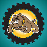 Brown Bulldog with Industrial Gear Background