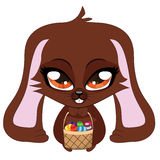 Brown bunny with Easter eggs Royalty Free Stock Photography