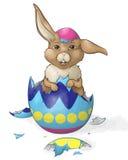 Brown Bunny Hatching d'un oeuf de pâques illustration de vecteur