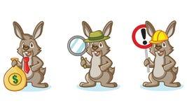 Brown Bunny Mascot avec l'argent Photographie stock libre de droits