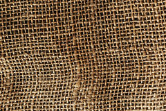 The brown burlap. The cloth. The texture. Royalty Free Stock Image