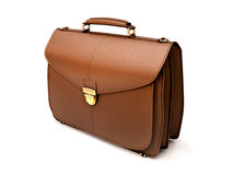 Brown business briefcase isolated Royalty Free Stock Photos