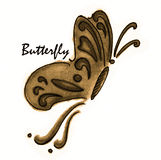 Brown butterfly on white background vector illustration