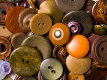 brown buttons gammalt Arkivbild