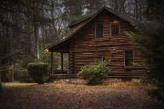 Brown Cabin in the Woods on Daytime Royalty Free Stock Photos