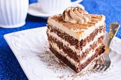 Brown cake with cream Stock Photos