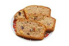 Brown cake with dried fruits Stock Photography