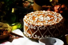 Brown Cake in Front of White Ceramic Bowl Stock Photos