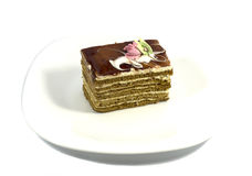 Brown cake on a white plate. On a white background Royalty Free Stock Images