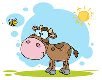 Brown calf watching a bee on a sunny day. Cartoon character cute little cow seen flying bee royalty free illustration