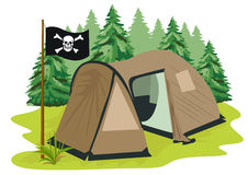 Brown camping tent with pirate flag Stock Image