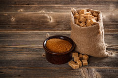 Brown cane sugar Royalty Free Stock Photos