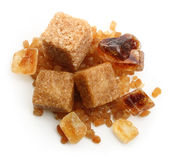 Brown cane sugar cubes and caramelized sugar Royalty Free Stock Photography