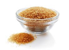 Brown cane sugar in glass bowl Royalty Free Stock Images