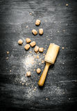 Brown cane sugar with pestle. Stock Images