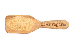 Brown cane sugar on shovel Stock Photo