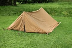 Brown Canvas Tent. Royalty Free Stock Photos