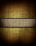Brown canvas texture with dark stripe, background Royalty Free Stock Photos