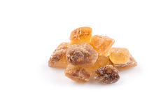Brown caramelized lump cane sugar cube Royalty Free Stock Photo