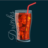 Brown carbonated soft drink in a glass, Does not contain alcohol, Cold with ice and a straw in a glass bowl Vector Royalty Free Stock Image