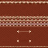 Brown card with beige ornament - vector Royalty Free Stock Image