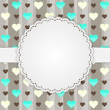Brown card template with many hearts Royalty Free Stock Images