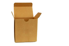 Brown cardboard box front side isolated on white background. A brown cardboard box front side isolated on white background Stock Image