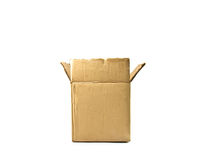 Brown cardboard box isolated Royalty Free Stock Photos