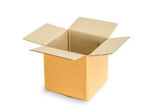 Brown cardboard box. Opened brown cardboard box isolated on white background Royalty Free Stock Photos