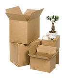 Brown cardboard box set isolated on white Stock Photo