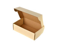 Brown cardboard box on white Royalty Free Stock Photos