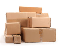 Brown cardboard boxes. Over the white Royalty Free Stock Image
