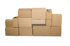 Brown cardboard boxes arranged in stack Stock Photography